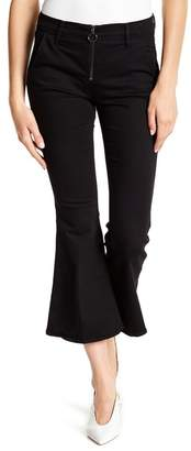 Frame Exposed Zipper Cropped Flare Jeans