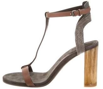 Brunello Cucinelli Monili-Embellished T-Strap Sandals w/ Tags