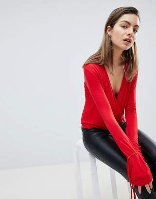 Ivyrevel Plunge Front Top with Cuff Detail