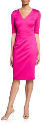 Trina Turk Locale V-Neck Elbow-Sleeve Tropical Ponte Dress