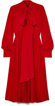 Valentino Pussy-bow Pleated Silk Crepe De Chine Dress - Red