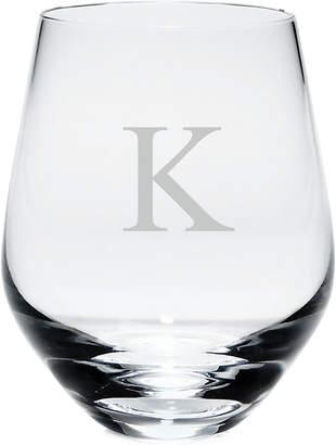 Lenox Tuscany Monogram Stemless White Wine Glasses, Set of 4, Block Letters