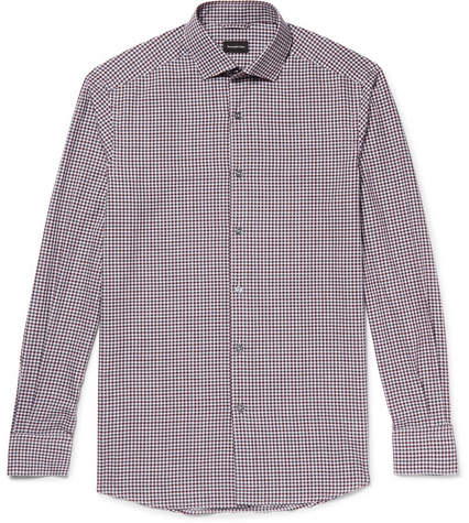 Ermenegildo Zegna Slim-Fit Cutaway-Collar Checked Cotton Shirt