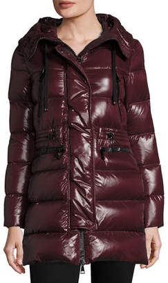 Moncler Aphrotiti Shiny Quilted Down Coat w/Fur Hood $1,895 thestylecure.com