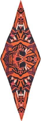 Alexander McQueen Skull & Tiger Moth Print Silk Twill Scarf