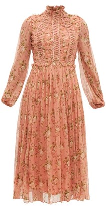 Zimmermann Espionage Lace Up Silk Chiffon Dress - Womens - Red Print