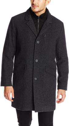 Andrew Marc Men's Holt Herringbone Coat with Micro Suede Bib