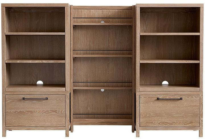 Charlie Bookrack Wall 2 Drawer Bases & 2 Bookcase Cubbies & 1 Bookrack, Water-Based Smoked Gray