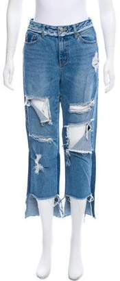 Sjyp Distressed Mid-Rise Jeans
