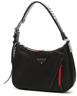 Prada Studded Hobo Logo Bag