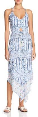 Surf Gypsy Pop Border Print Halter Dress Swim Cover-Up