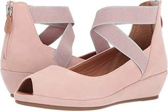 Gentle Souls by Kenneth Cole Women's Lisa Peep Toe Demi Wedge with Elastic Straps Shoe
