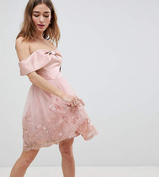 Chi Chi London Petite Off Shoulder Midi Dress with Bow Front and Premium Lace Detail