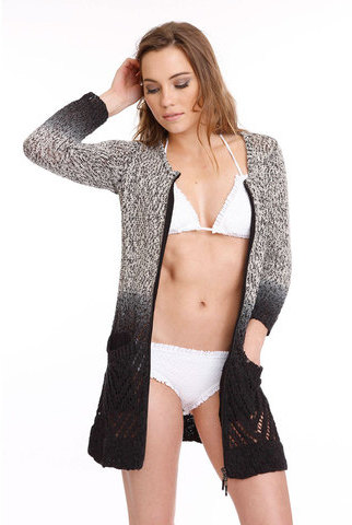 One Grey Day Omega Cardigan Ombre Black