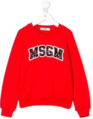 MSGM sequin embroidered logo sweatshirt