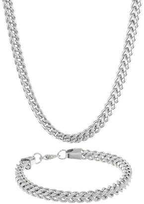 JCPenney FINE JEWELRY Mens Stainless Steel 6mm Foxtail Chain & Bracelet Boxed Set