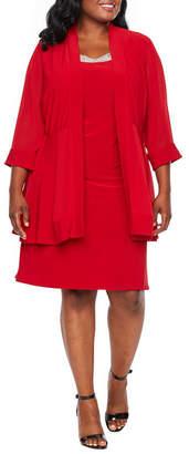 Scarlett 3/4 Sleeve Embellished Jacket Dress - Plus