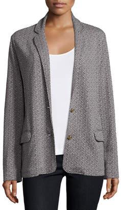 Joan Vass Two-Button Herringbone Blazer, Black/Ivory, Petite