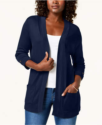 Karen Scott Cotton 3/4-Sleeve Open-Front Cardigan