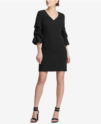 DKNY V-Neck Ruched-Sleeve Dress