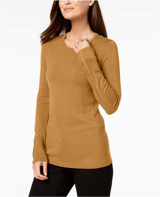 JM Collection Petite Embellished-Cuff Sweater