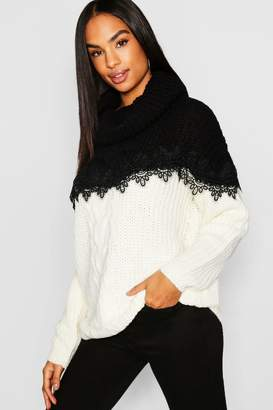 boohoo Tall Lace Trim Colour Block Roll Neck Sweater