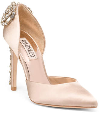 Pointy Toe Pumps With Crystal Heel