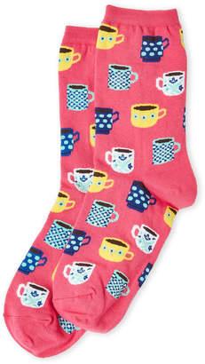 Hot Sox Pink Tea Cups Socks