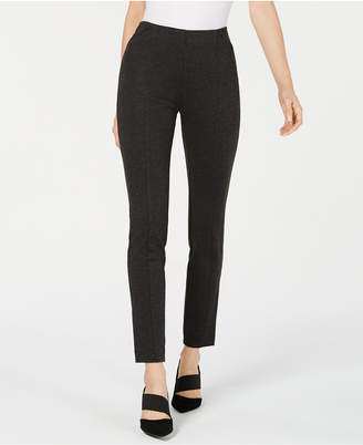Alfani Pull-On Faux Leather Trim Skinny Knit Pants