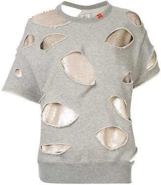 Puma Maison Yasuhiro sequin layer distressed sweatshirt