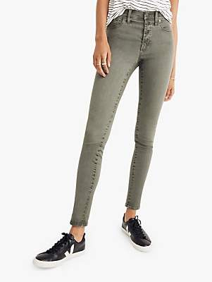 Madewell 9 High-Rise Garment Dye Button Front Skinny Jeans, Highland Green