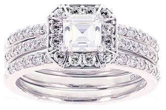 FINE JEWELRY DiamonArt Cubic Zirconia Sterling Silver Engagement Ring with Enhancer