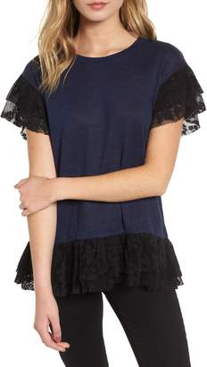 Chelsea28 Lace Trim Ruffle Linen Top
