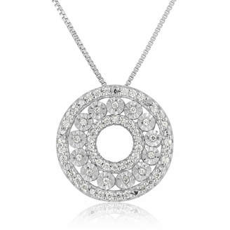 FINE JEWELRY Womens 1/5 CT. T.W. Genuine White Diamond Sterling Silver Circle Pendant Necklace