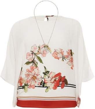 Dorothy Perkins Womens *Quiz Cream Floral Necklace Top