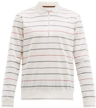 Paul Smith Multi Stripe Long Sleeve Polo Shirt - Mens - White