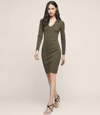 Reiss POLLY KNITTED BODYCON DRESS Khaki