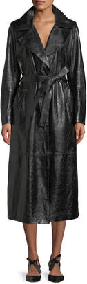 Skiim Tie-Waist Patent Lambskin Leather Long Trench Coat