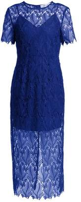 Diane von Furstenberg Leaf And Floral Macrame Lace Pencil Dress - Womens - Blue