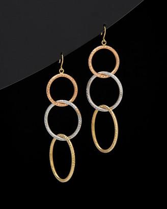 14K Italian Gold Tri-Tone Gold Diamond Cut Graduated Rings Dangle Earrings