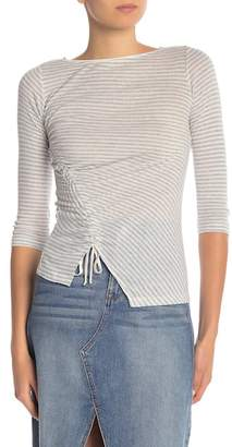 William Rast Striped Half Sleeve Ruched Top