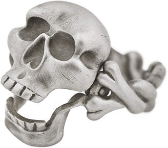 Snake Bones Hinged Jaw Skull and Crossbones Ring