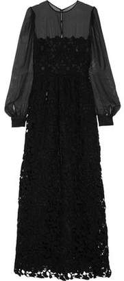 Valentino Silk-Chiffon And Embroidered Cotton-Blend Lace Gown