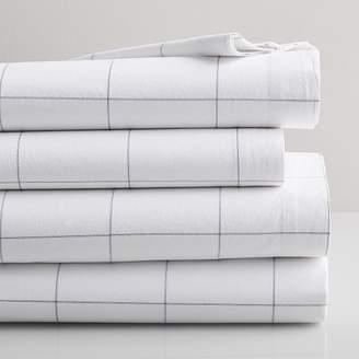 west elm Organic Washed Cotton Windowpane Sheet Set - White/Midnight