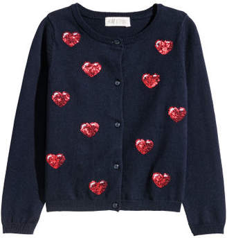 H&M Sequined Cotton Cardigan - Blue