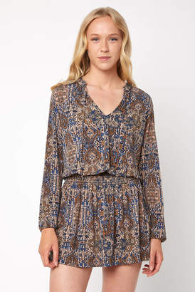 Juniper Blu Smocked Waist Printed Long Sleeve Dress
