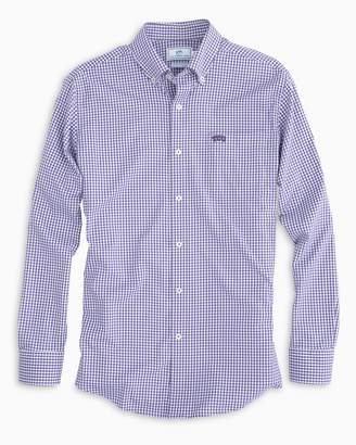 Southern Tide Gameday Gingham Intercoastal Performance Shirt - Texas Christian University