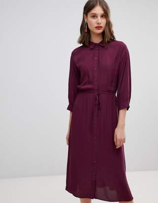 Warehouse shirt dress with tie waist in purple