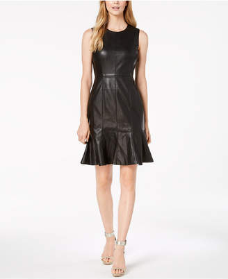 Calvin Klein Pleated-Hem Faux-Leather Dress