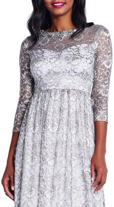 Adrianna Papell 3/4-Sleeve Metallic Lace-Illusion Gown